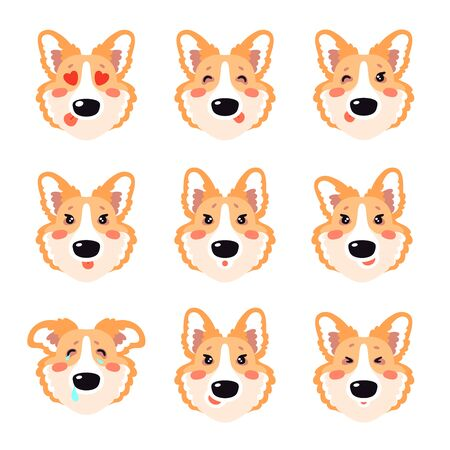 Corgi dog emoji stickers, cartoon avatar collection. Flat style vector set of various emotions, badge, pin, happy puppy illustration isolated on white background