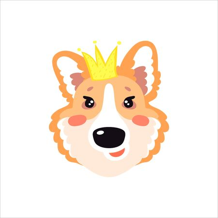 Illustration with happy Corgi dog in the crown. Cute childish design, kid background element for room birthday decor, baby shower invitation card, t-shirt print, positive emotions, badge