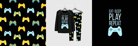 Seamless pattern and illustration for kid with gamepad and quote Eat Sleep Play Repeat. Cute design pajamas on hanger. Baby background for clothes, room birthday decor, fashion t-shirt print, wrapping