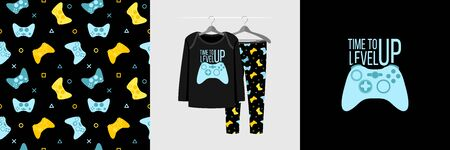 Seamless pattern and illustration for kid with gamepad and quote Time to level up. Cute design pajamas on hanger. Baby background for clothes, room birthday decor, fashion t-shirt print, wrapping