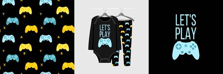 Seamless pattern and illustration for kid with gamepad and text Lets play. Cute design pajamas on hanger. Baby background for clothes, room birthday decor, fashion t-shirt print, wrapping Illustration