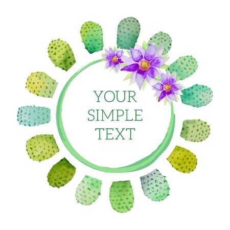 Vector watercolor illustration of a cactus and flowers for greeting card, banner or poster  イラスト・ベクター素材