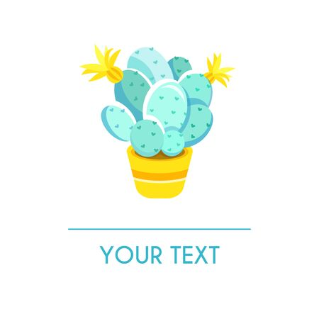 Vector greeting card with colored cactus isolated on white background. Can be used for banners, cards  イラスト・ベクター素材