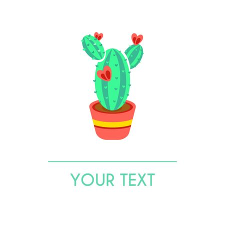 Vector greeting card with colored striped cactus isolated on white background. Can be used for banners, cards