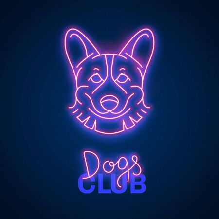 Glowing neon effect Dogs club Corgi sign Ilustracja