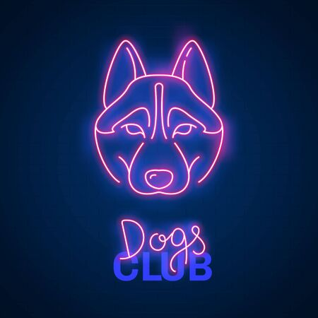 Glowing neon effect Dogs club Husky sign