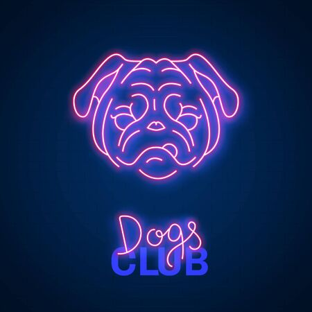Glowing neon effect Dogs club Pug sign