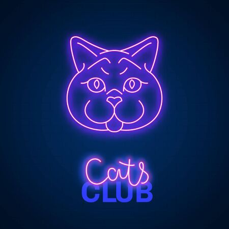 Glowing neon effect Cats club British sign