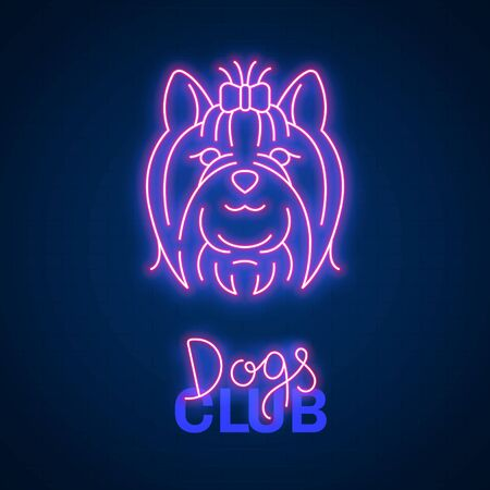Glowing neon effect Dogs club Yorkshire terrier sign Ilustracja