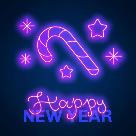 Glowing neon effect Happy New Year sign