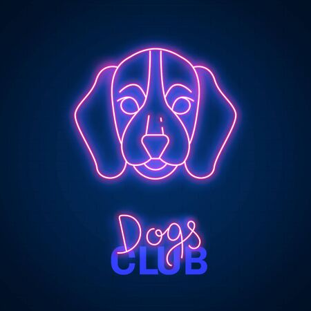 Glowing neon effect Dogs club Beagle sign