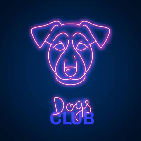 Glowing neon effect Dogs club Terrier sign