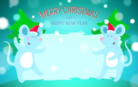 Christmas background with symbols of 2020 new year - cute mouse Ilustracja