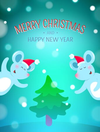 Christmas background with symbols of 2020 new year - cute mouse Zdjęcie Seryjne - 132613057