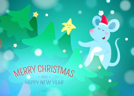 Christmas background with symbols of 2020 new year - cute mouse Zdjęcie Seryjne - 132613067