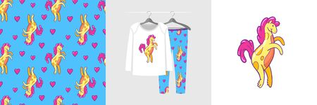 Seamless pattern and illustration for kid with sweet horse