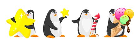 Set of vector penguins for nursery design, cartoon cute style illustration for kid