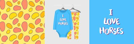 Seamless pattern and illustration for kid with spots and text I love horses Ilustracja