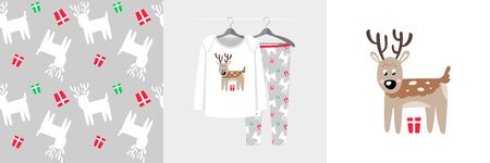 Seamless Christmas pattern and illustration for kid with deer Ilustracja