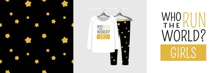 Seamless pattern and illustration for kid with quote Who run the world? Girls