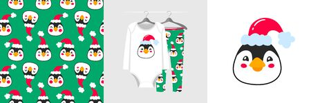 Seamless Christmas pattern and illustration for kid with penguin