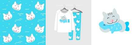 Seamless pattern and illustration for kid with cat hugs fish. Cute design pajamas on hanger. Baby background for fashion clothes wear, room decor, t-shirt print, baby shower, wrapping Ilustracja