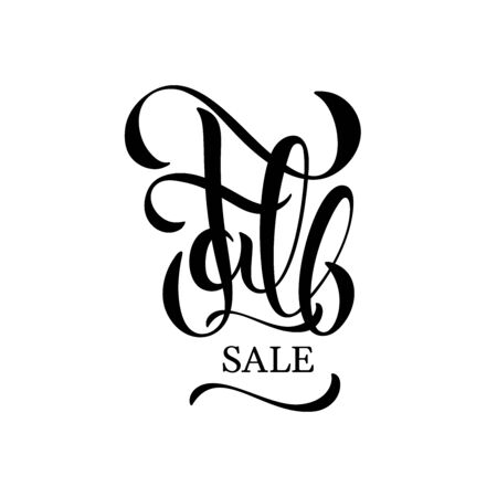 Fall sale hand drawn lettering for store, shop poster, voucher, web, mobile. Discount autumn banner, special offer promotions, ad signboard, social media season sale template on white background Ilustracja