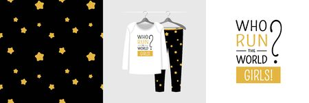 Seamless pattern and illustration for kid with quote Who run the world? Girls!