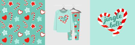 Seamless Christmas pattern and illustration for kid with candy
