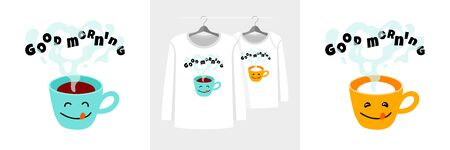 Paired t-shirt illustrations for parent and child withgood morning text and cup of coffee and milk