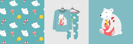 Seamless pattern and illustration for kid with polar bear and Christmas presents