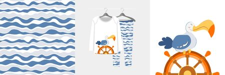 Seamless pattern and illustration for kid with albatros on sailboat wheel