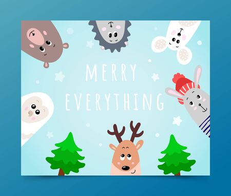 Merry Everything Christmas greeting, funny winter animals, poster with cute owl, bear, hedgehog, mouse, rabbit, deer and Christmas tree. Snowy background for card, winter festive decor, gift paper Ilustracja