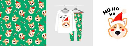 Seamless pattern and illustration for kid with Ho Ho Ho Santa corgi dog