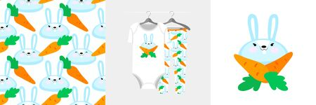 Seamless pattern and illustration with bunny and carrots.