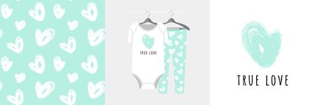 Seamless pattern and illustration for kid with heart, text True Love. Иллюстрация