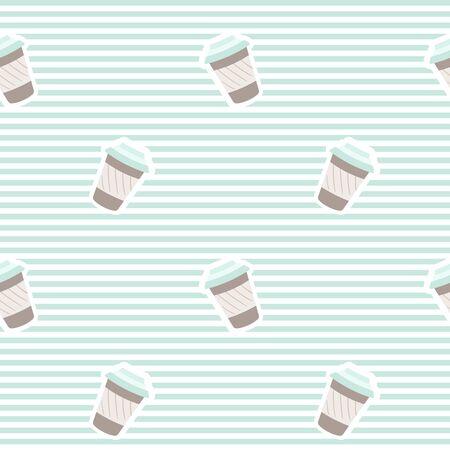 Travel mug or paper cup seamless pattern Illustration