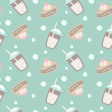 Cappuccino and cake seamless pattern