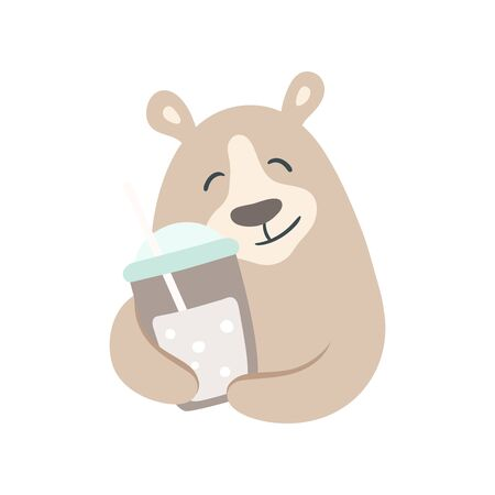 Bear with a cold brew drink illustration