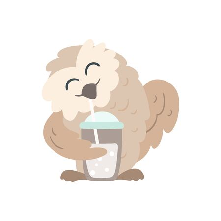 Owl with a cold brew drink Иллюстрация