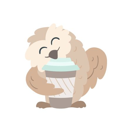 Owl with a travel mug or paper cup. Beige and pastel mint colors. Coffee break party element. Great for shop apparel, t-shirt print, branding, sticker,  art for business and personal projects