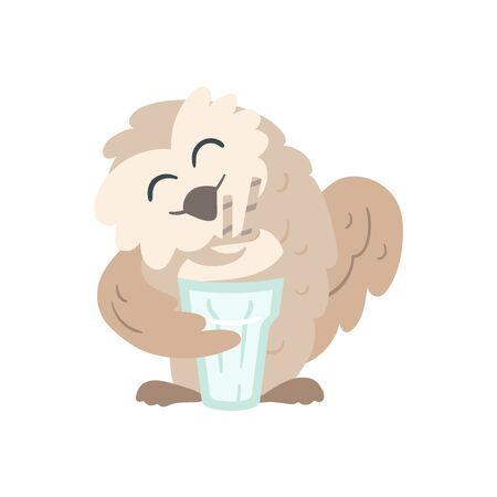 Owl with a cappuccino cup with foam. Beige and pastel mint colors. Coffee break party element. Great for shop apparel, t-shirt print, branding, sticker, logo, art for business and personal projects
