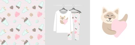Seamless pattern and illustration set with cat hugs heart. Cute design pajamas on a hanger. Baby background for fashion clothes wear, room decor, t-shirt print, baby shower, fabric design, wrapping