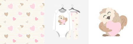 Seamless pattern and illustration set with owl hugs heart. Cute design pajamas on a hanger. Baby background for fashion clothes wear, room decor, t-shirt print, baby shower, fabric design, wrapping