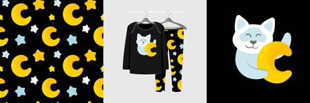 Seamless pattern and illustration set with cat hugs moon. Cute design pajamas on a hanger. Baby background for fashion clothes wear, room decor, t-shirt print, baby shower, fabric design, wrapping