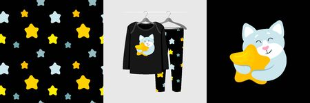 Seamless pattern and illustration set with cat hugs star. Cute design pajamas on a hanger. Baby background for fashion clothes wear, room decor, t-shirt print, baby shower, fabric design, wrapping