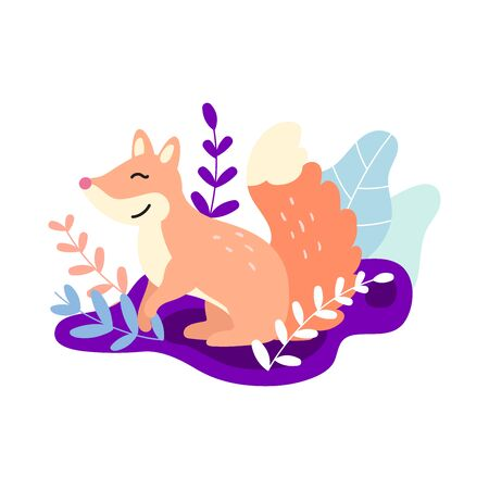 Süßer schlauer Fuchs. Pfirsich und lila Farben. Feenwald Blumenmuster. Ideal für Kleidung, T-Shirt-Druck, Branding, Aufkleber, Karten, Kunst für geschäftliche und persönliche Projekte