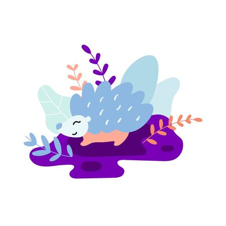 Sweet hedgehog. Blue and purple colors. Fairy forest floral design. Great for apparel, t-shirt print, branding, sticker, card, art for business and personal projects