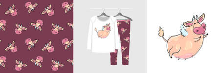 Seamless pattern and illustration set with big funny flying cow Illustration