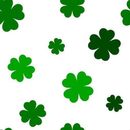 Green four leaf clover seamless pattern, St Patrick day background for textile, wrapping paper, social media, greeting card, poster, celebration banner, web, promotion, shop ad